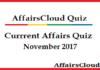 Current Affairs Quiz November 2017