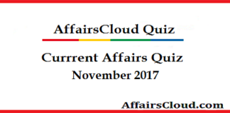 Current Affairs Quiz November 2017