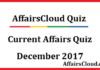 Current Affairs Quiz December 2017