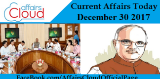 Current Affairs Today - December 30 2017