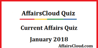 Current Affairs Quiz January 2018