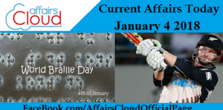 Current Affairs Today - January 4 2018