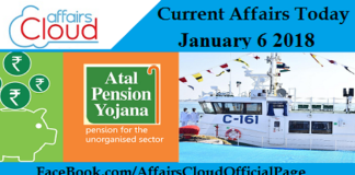 Current Affairs Today - January 6 2018