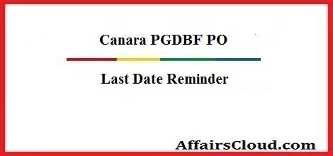 canara-pgdbf-po-last date-reminder