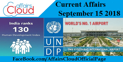 Current Affairs September 15 2018