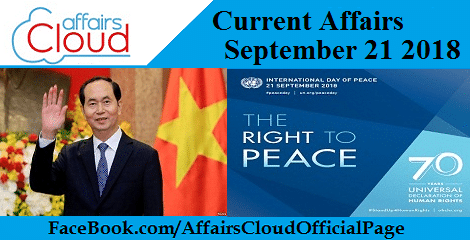 Current Affairs September 21 2018