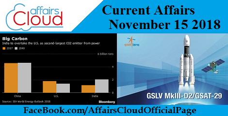 Current Affairs Hindi – November 15 2018