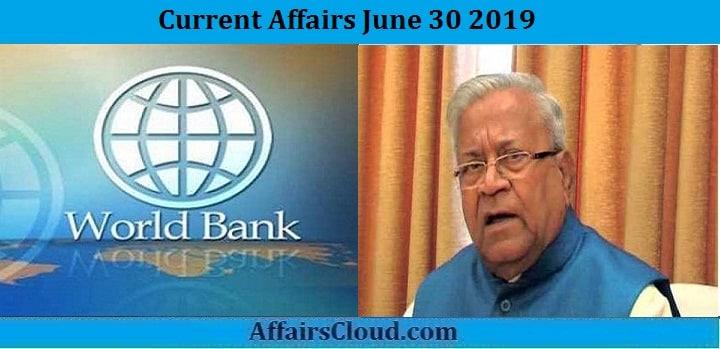 Current Affairs June 30 2019