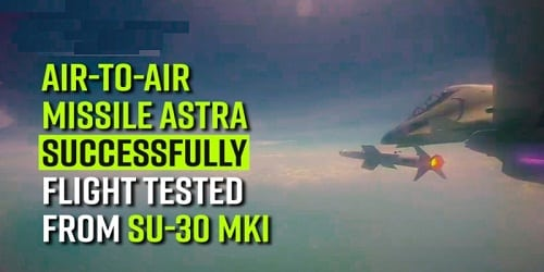 Air-to-Air missile Astra successfully flight tested by IAF from Su-30 MKI