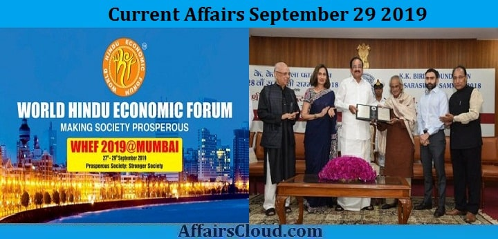 Current Affairs September 29 2019