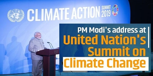 Narendra Modi addresses the Climate Action Summit 2019