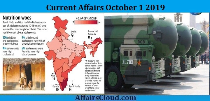 Current Affairs October 1 2019