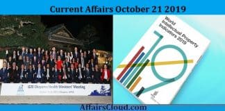 Current Affairs October 21 2019