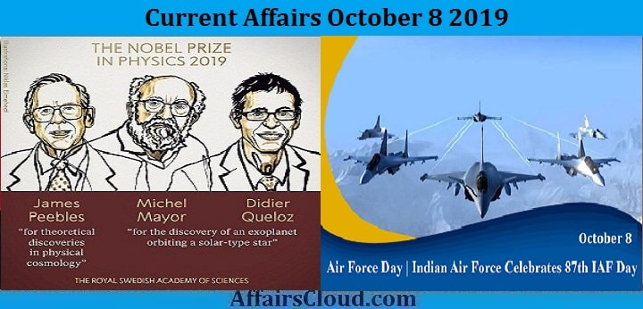 Current Affairs October 8 2019
