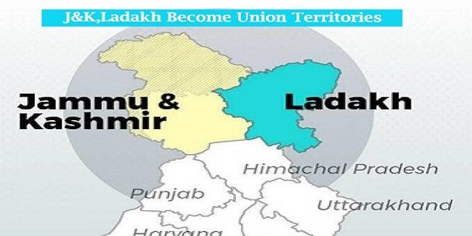 J&K,ladakh union territories