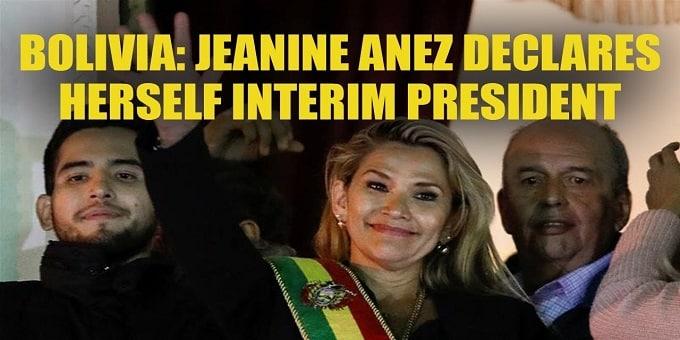 Bolivian Senator Jeanine Anez as interim president