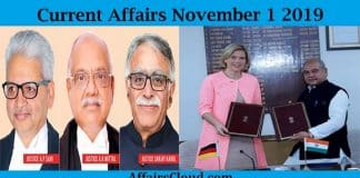 Current Affairs November 1 2019