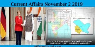 Current Affairs November 2 2019