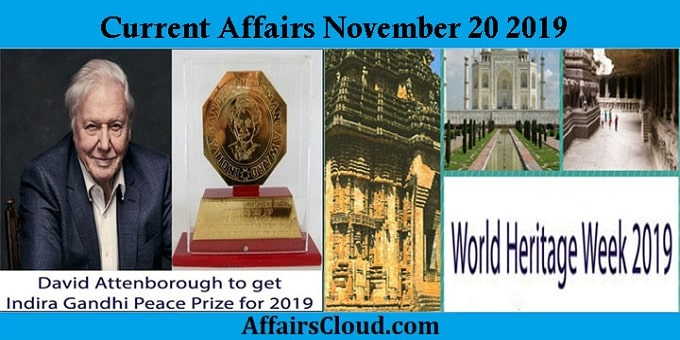 Current Affairs November 20 2019