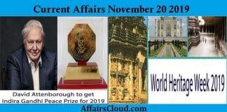 Current Affairs November 20 2019