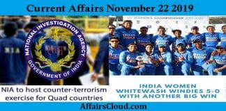 Current Affairs Today November 22 2019