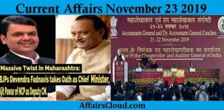 Current Affairs Today November 23 2019