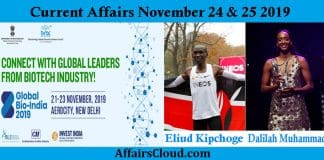 Current Affairs Today November 24 & 25 2019