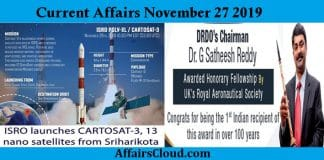 Current Affairs Today November 27 2019