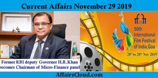Current Affairs Today November 29 2019