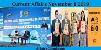 Current Affairs november 8 2019