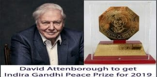 David Attenborough to Get Indira Gandhi Peace Prize for 2019