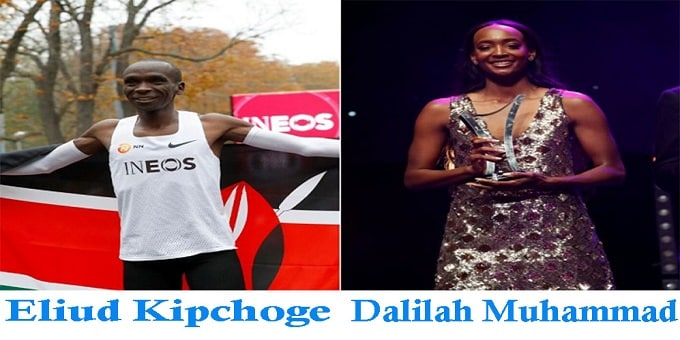 Eliud Kipchoge and Dalilah Muhammad