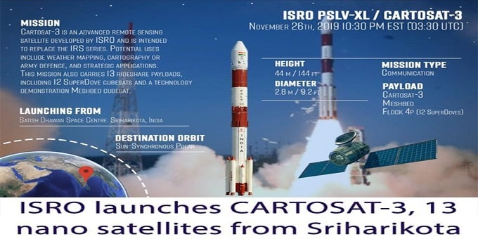 ISRO successfully injects Cartosat 3 spacecraft