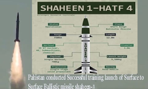 pakisthan launch ballastic missile shaheen-1