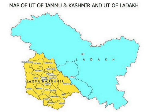 political map of new Union Territories Jammu & Kashmir and Ladakh
