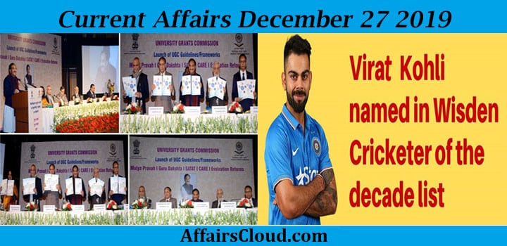 Current Affairs Today December 27 2019 new