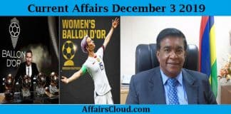 Current Affairs Today December 3 2019