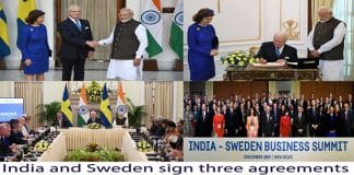 India and Sweden sign three agreements