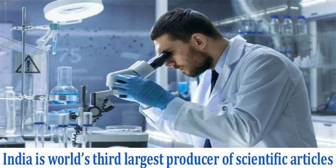 India is world's third largest producer of scientific articles