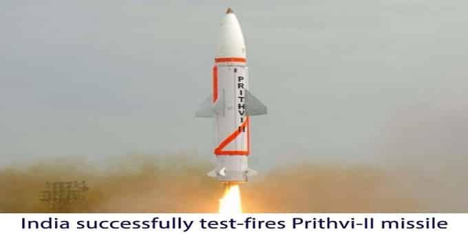India successfully launches Prithvi-2 missile
