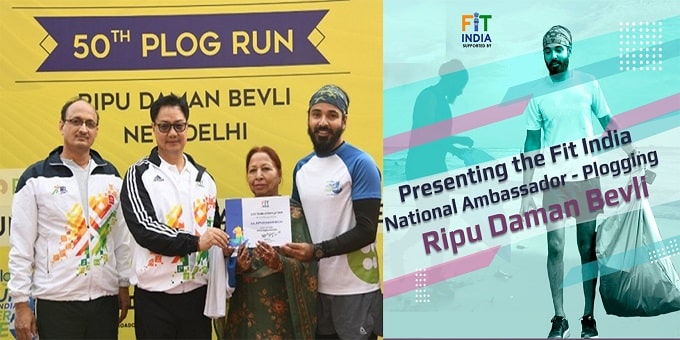 Ripu Daman Bevli as Plogging Ambassador on 50th Fit India Plogging Run