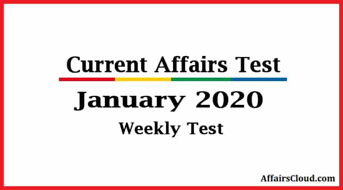 AffairsCloud weekly quiz January 2020