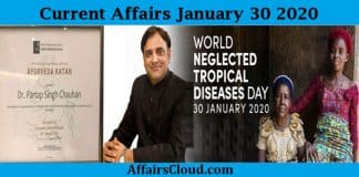 Current Affairs Today January 30 2020