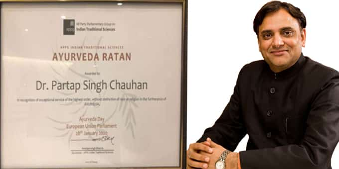 Dr Chauhan conferred with prestigious Ayurveda award
