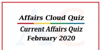 Current affairs quiz february 2020