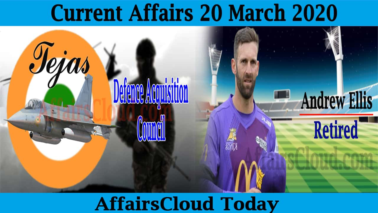 Current Affairs 20 March 2020