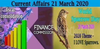 Current Affairs 21 March 2020