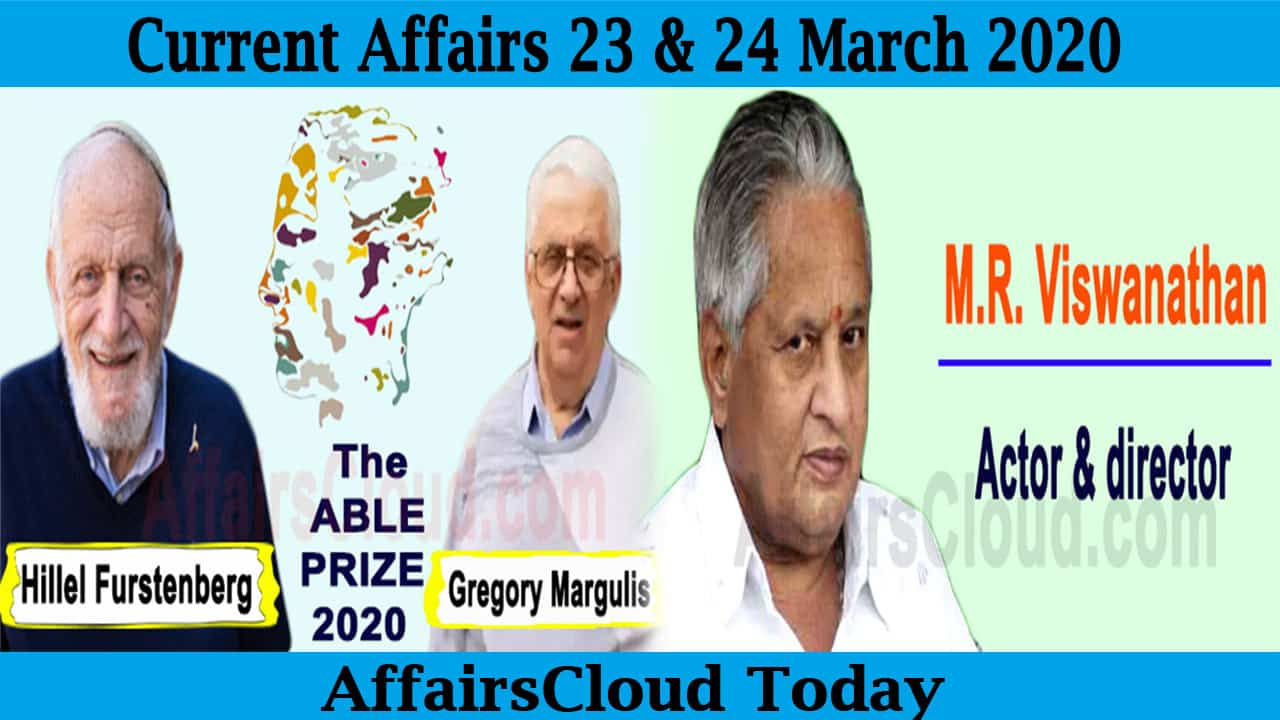 Current Affairs 23 & 24 March 2020