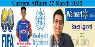 Current Affairs 27 March 2020