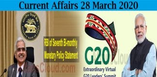 Current Affairs 28 March 2020